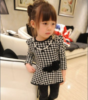 Wholesale Fall Winter Children Houndstooth Dress Thicken Leyo With Necklace Girls Dress Babies Dresses Fit Year Kids QZ278