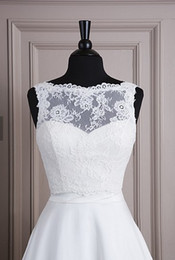 Wholesale Lace Sleeveless Jacket With Bateau Neckline and Satin Button Back Closure