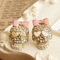 Wholesale S5Q Vintage Rhinestone Crystal Skull Pink Bow Bestey Johnson Earrings Lady AAAAWA