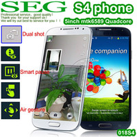 Wholesale 1 S4 phone I9500 S4 MTK6589 Quad core Air Gesture Eye Control Android quot mp s4 mtk6572 I9500e3 bb G e5 GPS rr e8