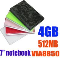 Wholesale 7 inch umpc laptop Android VIA8850 WM8850 MB GB RAM GB ROM WiFi HDMI RJ45 USB Ports Webcam mini Netbook quot Notebook colors