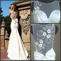 Wholesale Real Pictures Sexy Sheer Sleeveless Ivory Mermaid Satin Pageant Dresses Diamonds Pearls Floral Prom Gowns TE