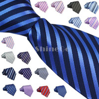 Wholesale 10 New Fashion Design Men Men s Polyester Silk stripe pattern jacquard weave Party Wedding Necktie Ties designs in choice