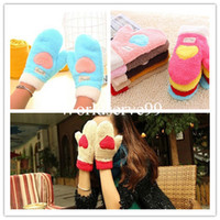 Wholesale Fashion Women Full Finger Gloves Love Heart Plush Winter Snow Warm Mittens Gloves Colors