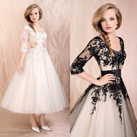 Wholesale 2014 Appliqued Sheer Beach Wedding Dresses Scoop Neck Half Sleeve A Line Tea Length Tull Skirt Bridal Gowns