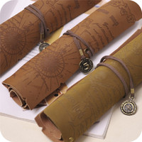 Wholesale Vintage pirate map leather roll pencil case shutter pen bag curtain cosmetic bag pencil bags
