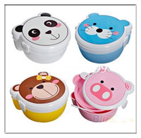 ECO Friendly plastic lunch box - Microwaveable Plastic Cartoon Animal Double Layer Bento Lunch Meal Case Box Spoon Set