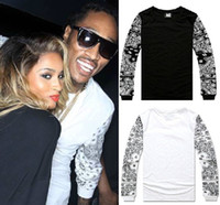Wholesale NEW Allover Paisley Bandana Print Graphic Tee T Shirt Black White Tyga Hip Hop