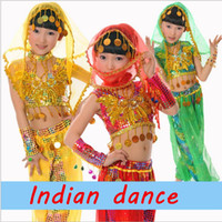 Wholesale Girls Indian Folk Dancewear Theatrical Costume Three Colors Children s Performance Clothing
