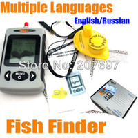 Wholesale FFW718 Wireless Portable Dot Matrix Fish Finder Sonar Radio big LCD inch Display Russian and English Menu Can Choose