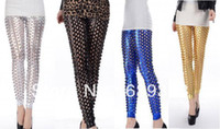 Leggings Skinny,Slim Shredded / Ripped Free shipping Fashion 4 colors(Silver Black Babe Blue Gold) Punk Fish Scale Pierced Holes Fashion Leggings for Women LC79312
