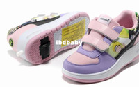 Wholesale sneakers for girl children girl heelys flying shoes single wheel push button roller skate