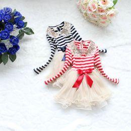 Hot sale Sequins lace collar stripe yarn tutu dress girl cute Bow long sleeve princess dress kid autumn dress child clothes 1996