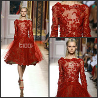 Reference Images Jewel/Bateau Lace 2014 Newest Zuhair Murad Tulle Evening Dresses Gowns Dark Red Appliques Long Sleeve Short Prom Formal Dressesgown Knee-Length Scoop