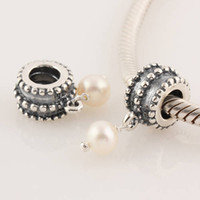 Silver beveled glass - 925 Stamped Sterling Silver Screw Beveled Pearl Drop Dangle Charm Bead Fits European Style Jewelry Bracelets Necklaces Pendants