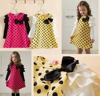 Wholesale Little Girls Lotus Leaf Long Sleeve Polka Dot Dress with bow For Party Wedding Dress For Winter Spring