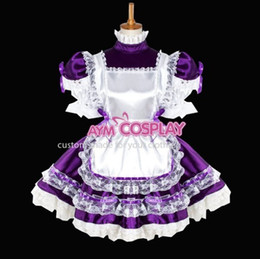 Wholesale New Arrival Sissy Maid Lockable Dress Uniform Sweet Lolita Dress Purple Satin Lace Tailor Made
