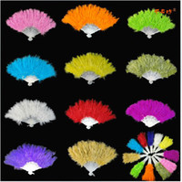 Wholesale Soft Fluffy Turkey Feather Fan Showgirl Burlesque Flamenco Flapper Fancy Dress Ball Event Party Christmas performing props Halloween