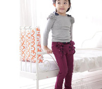 Wholesale Autumn with han edition children s clothing double breasted girls lace bowknot basic pants