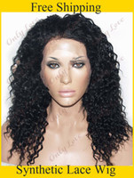 Wholesale cheap heat resistant black color curly synthetic lace front wigs for black women