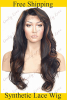Wholesale heat resistant fiber b highlighted ombre long body wavy Synthetic lace front wigs