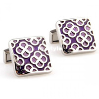 Wholesale 9ct gold cufflinks Fascinating Purple Enmale Square Cufflinksman s copper and white steel