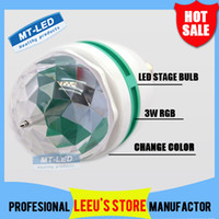 Wholesale X50 DHL Retail W E27 RGB lighting Full Color LED Crystal Stage Light Auto Rotating Stage Effect DJ lamp mini Stage Light Bulb