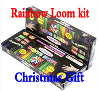 Wholesale Rainbow Loom Kit loom beads Tie Dye DIY bands charms Rubber rubber S Clips charms Hook shell packaged