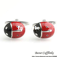 Wholesale Pastoral Ladybird fun modeling red black cufflinks ZB6125man s copper and white steel