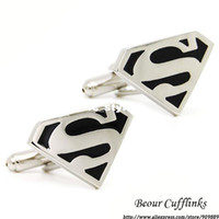 Wholesale Supermen Cufflinks NM0296man s copper and white steel