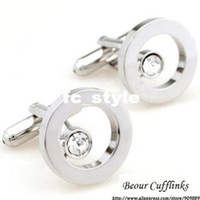 Wholesale Romance silver circle with white crystal cufflinks ZB7521man s copper and white steel
