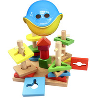 Wholesale SUPER MALL kid wood wooden toys building block sets educational blocks digital shape pirate wisdom box WZ30457