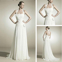 Trumpet/Mermaid Reference Images Chiffon WD7106 Grecian Style Halter Chiffon Wedding Dress 2012
