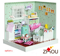 Wholesale Cute DIY Handmade Dream House D Dollhouse Furniture Miniature Toys Puzzle Wooden Toy House Model The Fresh House
