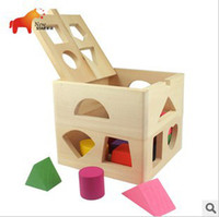 Wholesale On Sale Children Holes Wooden Early Education Toys Shape Learn Different Color and Shape