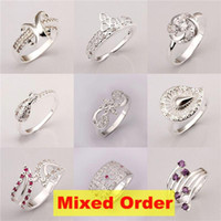 Wholesale 18pcs mixed order mixed styles US size Sterling Silver Plated Rings FR151