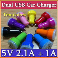 Wholesale EMS Mini Car Charger Adapter Bullet Dual USB Ports Double Port For iPad iPhone S iPod Touch JC01