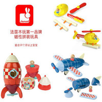 0-12M Multicolor Metal Magnetic wood blocks model toy wooden model for chilren educational learning kids toys airplane rocket model toy