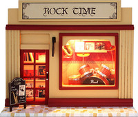Wholesale DIY dollhouse miniature toys European shop music bar Cool Rock Cime wooden hand model creative birthday gift with light