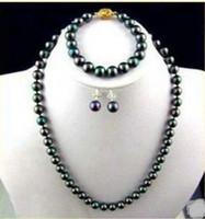 Wholesale 8 mm natural tahitian black pearl necklace bracelet earring k