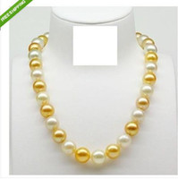 Wholesale AAA mm Australian south sea white pearl gold pearl necklace k