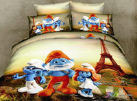 Adult Twill 100% Cotton 2013 New The Smurfs and Tower Queen size Modern 3D Bedding sets 4pcs Duvert Cover set Bedspread Pillow case bed in a bag