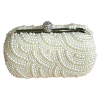 Wholesale S5Q Elegant Wave Pattern Pearls Beaded Crystals Clasp Cocktail Boxes Evening Bag AAABIA