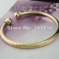 Wholesale 2012 New arrival Charm jewelry Plain bracelet k gold filled lady s bracelet GF women ringent mm bangle on sale