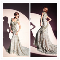 Reference Images Sweetheart Lace 2014 Dany Tabet New Designed Capped Sleeves Lace Prom Gowns Sweep Train Hot Sale Appliques Beads Pageant Prom Dresses 1203B