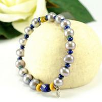 Wholesale Fashion New Pearl Bracelet Pearl Lapis Lazuli Beaded Fine Jewelry Pearl Bracelets RL13B004