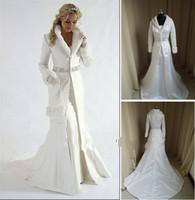Wholesale fur A line coat strapless satin White Winter Wedding Dress Cloak Chapel Train Satin Long Sleeve wedding Coat for bride HL079