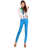 Wholesale S5Q Sexy Candy Colors Pencil Slim Fit Skinny Summer Trousers Women Jeans AAABOG