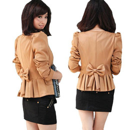 Wholesale S5Q Autumn Blazer Women s Outerwear Short Jacket Slim Coat Bubble Sleeve AAABOI
