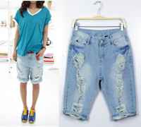 Jeans Women Bootcut Free Shipping Ripped Distressed Short women jeans, Denim Cotton Summer Trousers AD9405MK